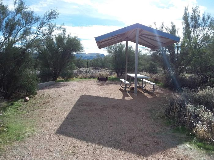 Site 6 with a picnic table, a campfire ring, shade structure and parking.