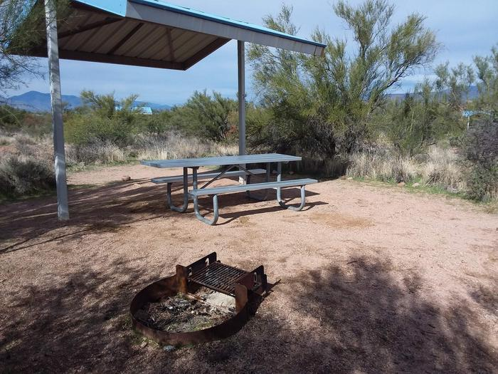 Site 7 with a picnic table, fire ring, shade structure, and parking area.