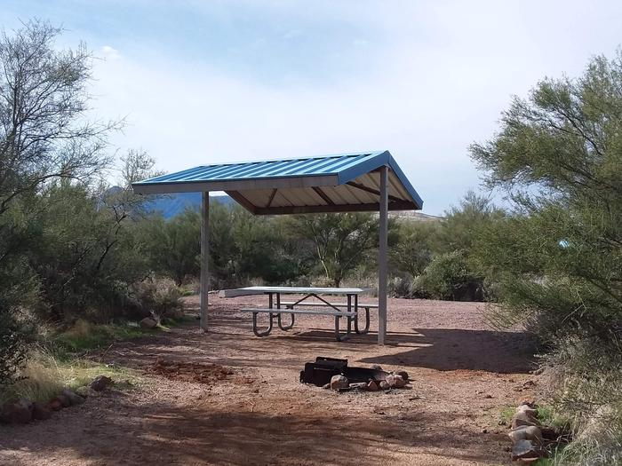 Site 8 with a picnic table, campfire ring, shade structure, and parking.