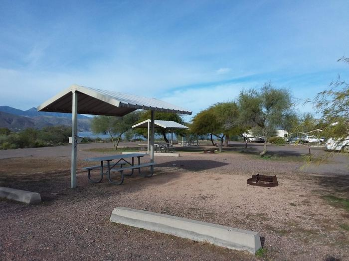 Windy Hill Campground Coyote Site 297: shade structure, table, fire pit Windy Hill Campground Coyote Site 297