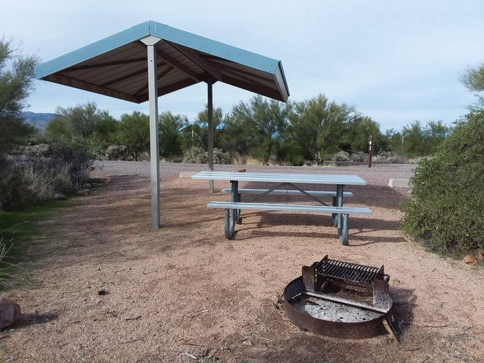 Site 10 with a picnic table, fire ring, shade structure, and parking.