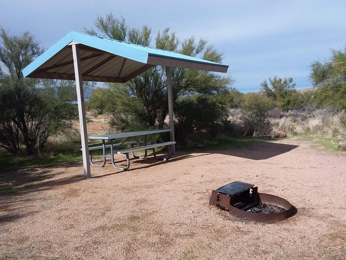 Site 11 with a picnic table, campfire ring, shade structure, and parking.