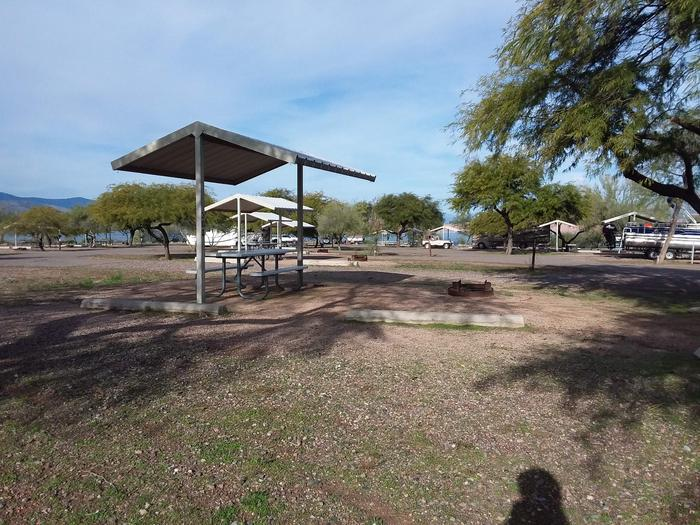 Windy Hill Campground Coyote Site 301: shade structure, table, fire pit Windy Hill Campground Coyote Site 301