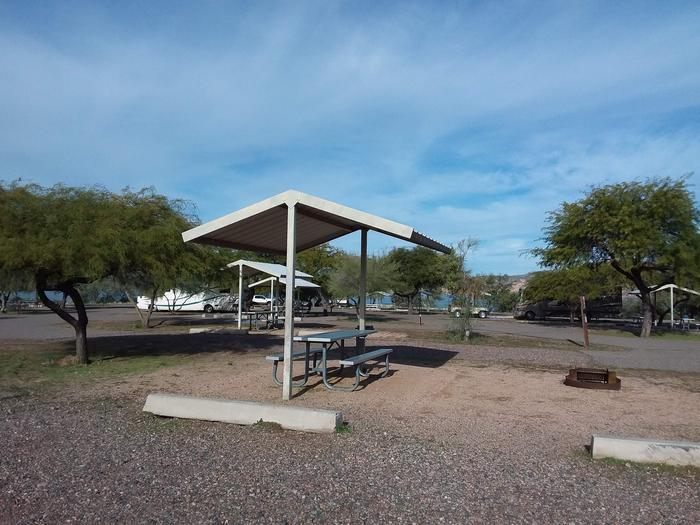Windy Hill Campground Coyote Site 302: shade structure, table, fire pit Windy Hill Campground Coyote Site 302