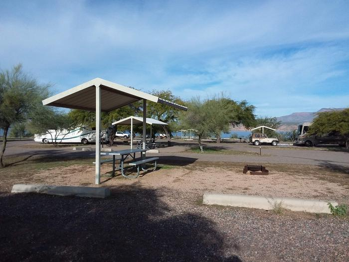 Windy Hill Campground Coyote Site 303: shade structure, table, fire pit Windy Hill Campground Coyote Site 303