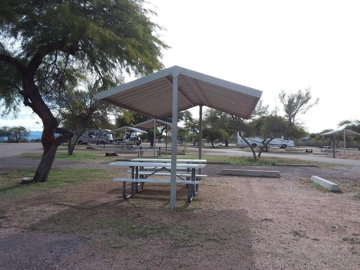 Windy Hill Campground Coyote Site 315: shade structure, two tables, fire pit Windy Hill Campground Coyote Site 315