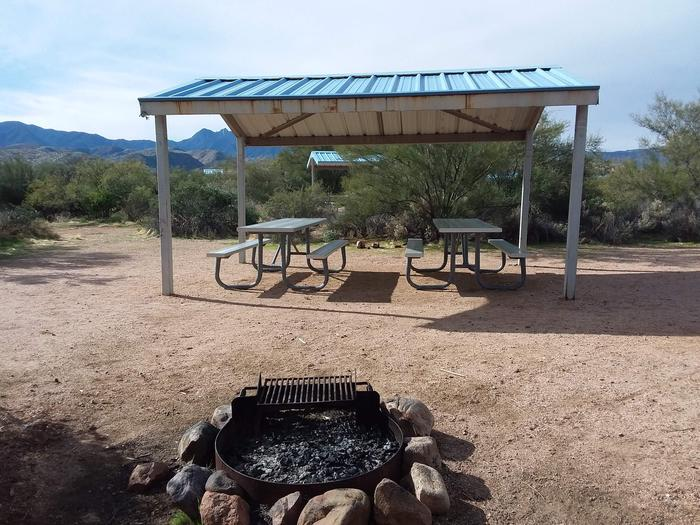 Campsite 17 at Cholla Campground with picnic tables, a fire ring, shade structure, and parking.