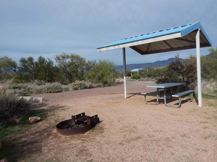 Campsite 35, Buckhorn Loop with a picnic table, fire ring, shade structure, and parking.