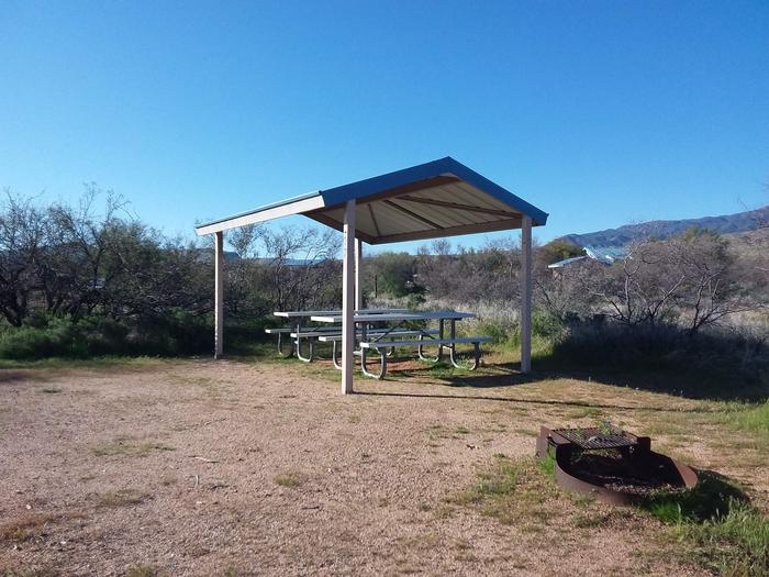 Campsite 37 at Cholla Campground with picnic tables, a fire ring, shade structure, and parking.