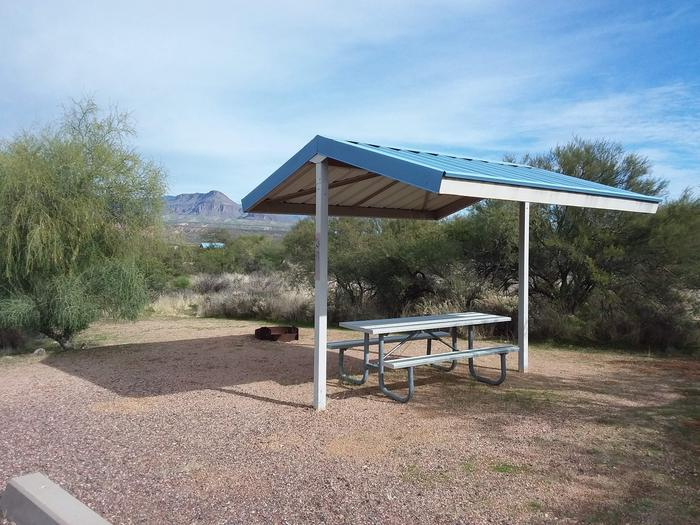 Site 38 with a picnic table, fire ring, shade structure, and parking.