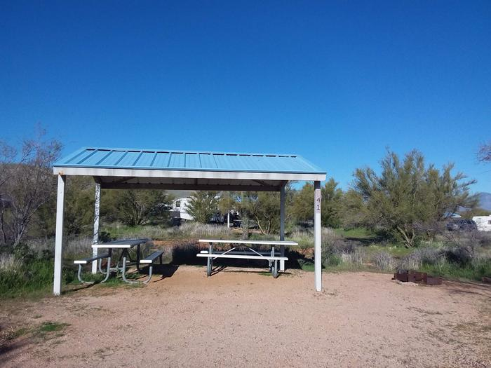 Campsite 41 at Cholla Campground with picnic tables, a fire ring, shade structure, and parking.