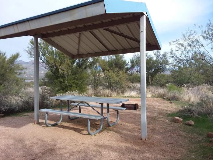 Site 42 with a picnic table, fire ring, shade structure, and parking.