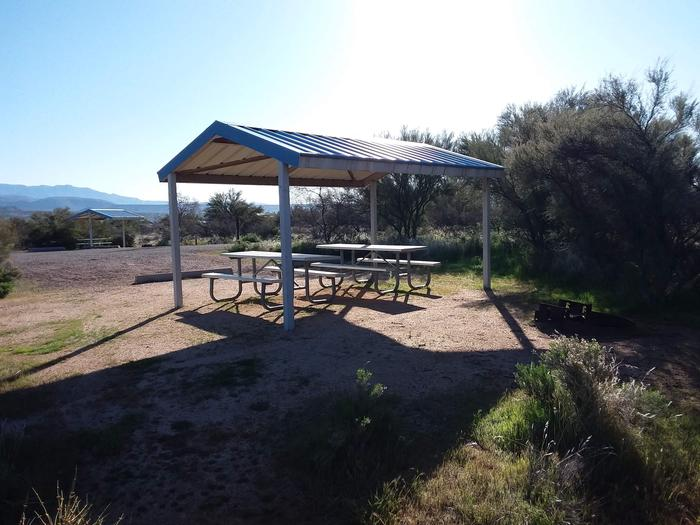 Campsite 43 at Cholla Campground with picnic tables, fire ring, shade structure, and parking.