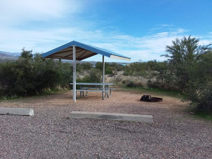 Site 44 with a picnic table, fire ring, shade structure, and parking.