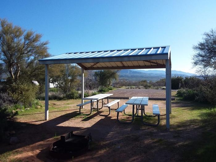 Campsite 45 at Cholla Campground with picnic tables, a fire ring, shade structure, and parking.