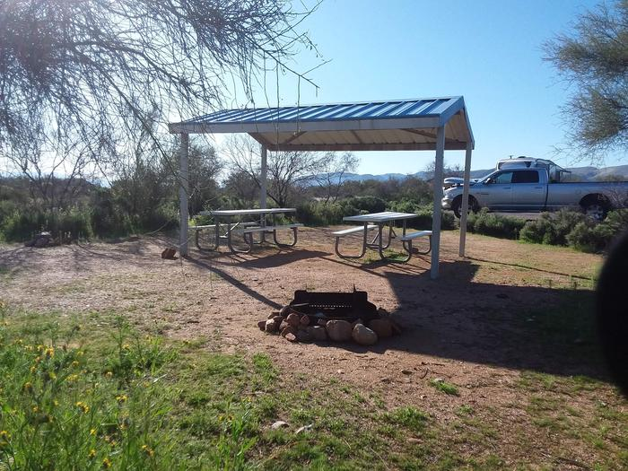 Site 50 with picnic tables, a fire ring, shade structure, and parking.