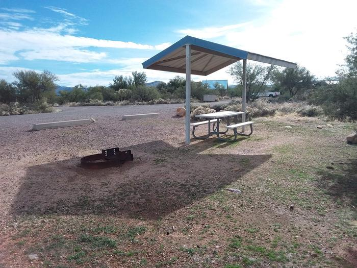 Site 68 with a picnic table, campfire ring, shade structure, and parking,.
