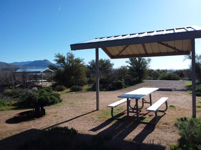 Site 76 with a picnic table, fire ring, shade structure, and parking