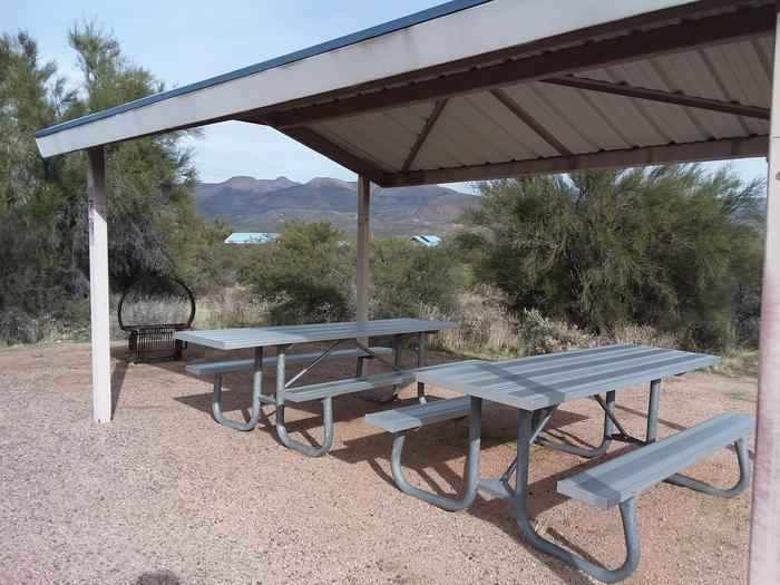 Campsite 79 at Cholla Campground with a picnic table, fire ring, shade structure, and parking.