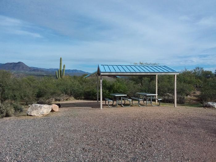 Campsite 85 at Cholla Campground with picnic tables, a fire ring, shade structure, and parking.