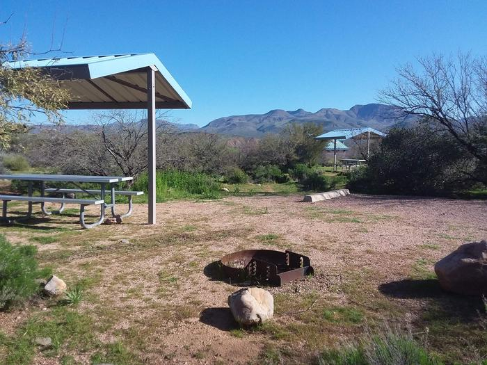 Campsite 93 at Cholla Campground with a picnic table, fire ring, shade structure, and parking.