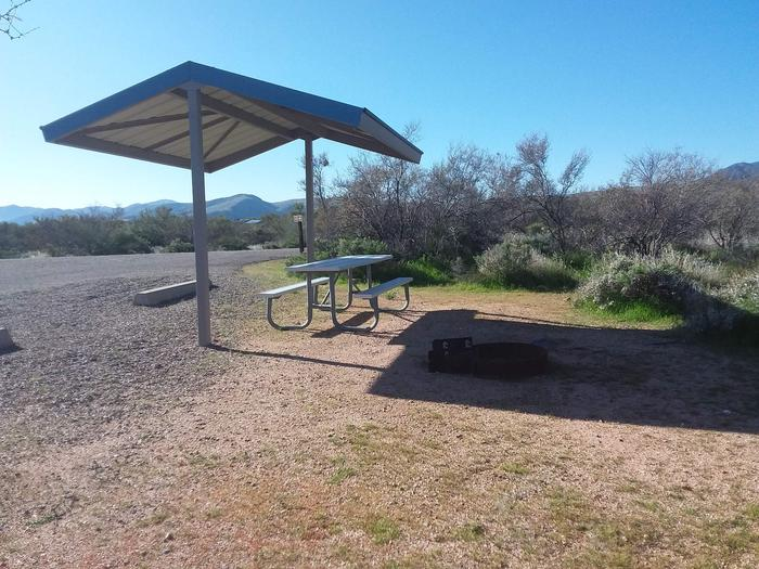 Site 96 with a picnic table, campfire ring, and a parking spot.