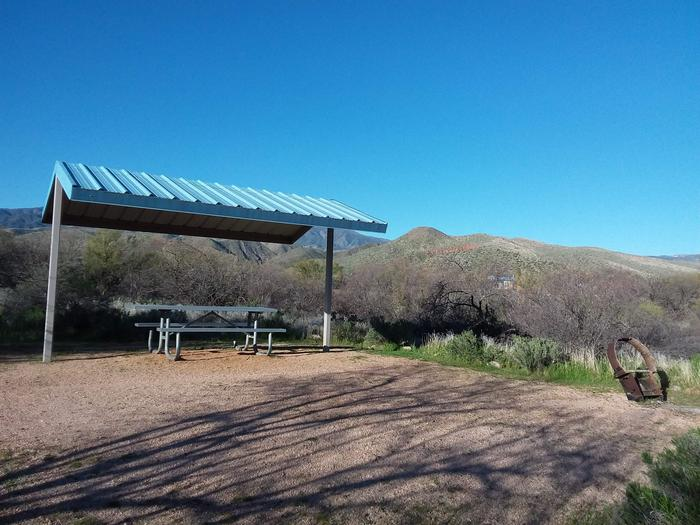 Site 162 with a picnic table, fire ring, shade structure, and parking.