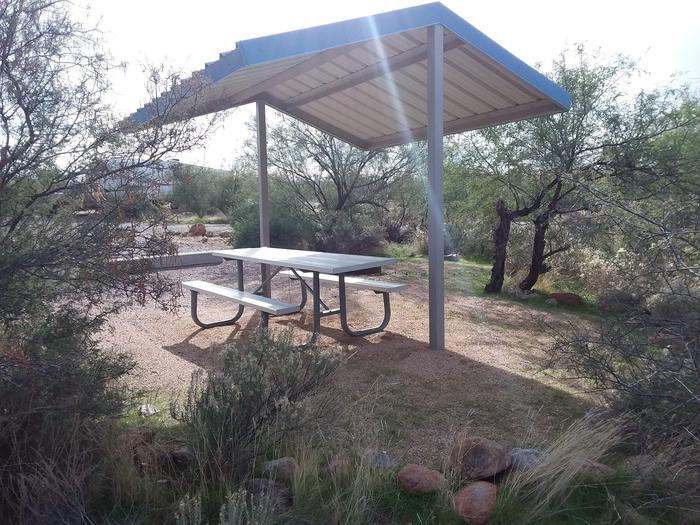 Campsite 163, Cane Loop with a picnic table, fire ring, shade structure, and parking.