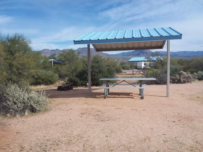 Campsite 173, Cane Loop with a picnic table, fire ring, shade structure, and parking.