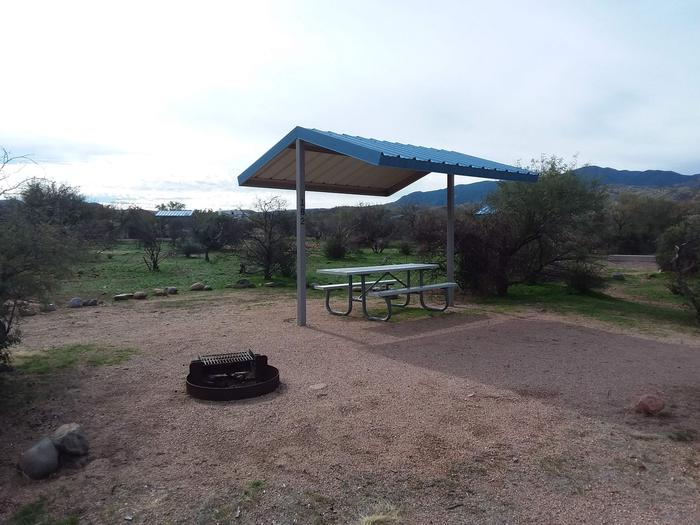 Site 182 with a picnic table, fire ring, shade structure, and parking.