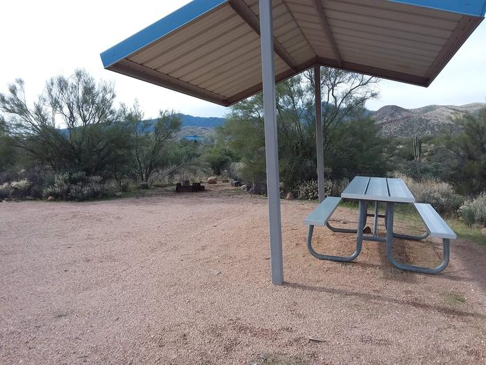 Site T16 with a picnic table, fire ring, shade structure, and parking.