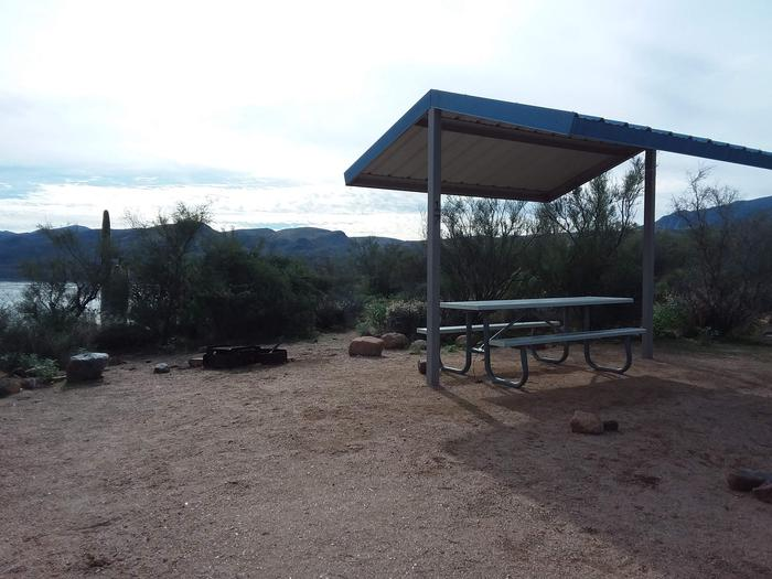 Campsite T17, Cane Loop with a picnic table, fire ring, shade structure, and parkingCampsite T17, Cane Loop with a picnic table, fire ring, shade structure, and parking.