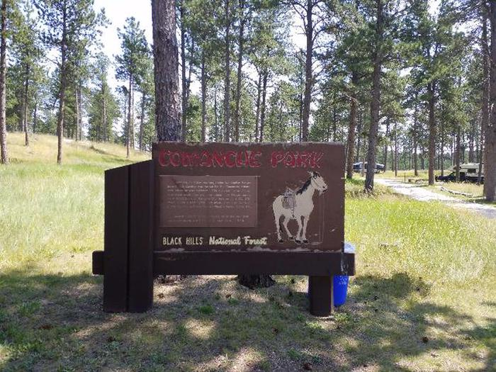 Sign with history on how Comanche got it name