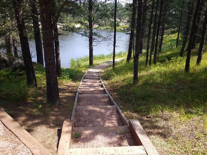 Steps leading down to lake