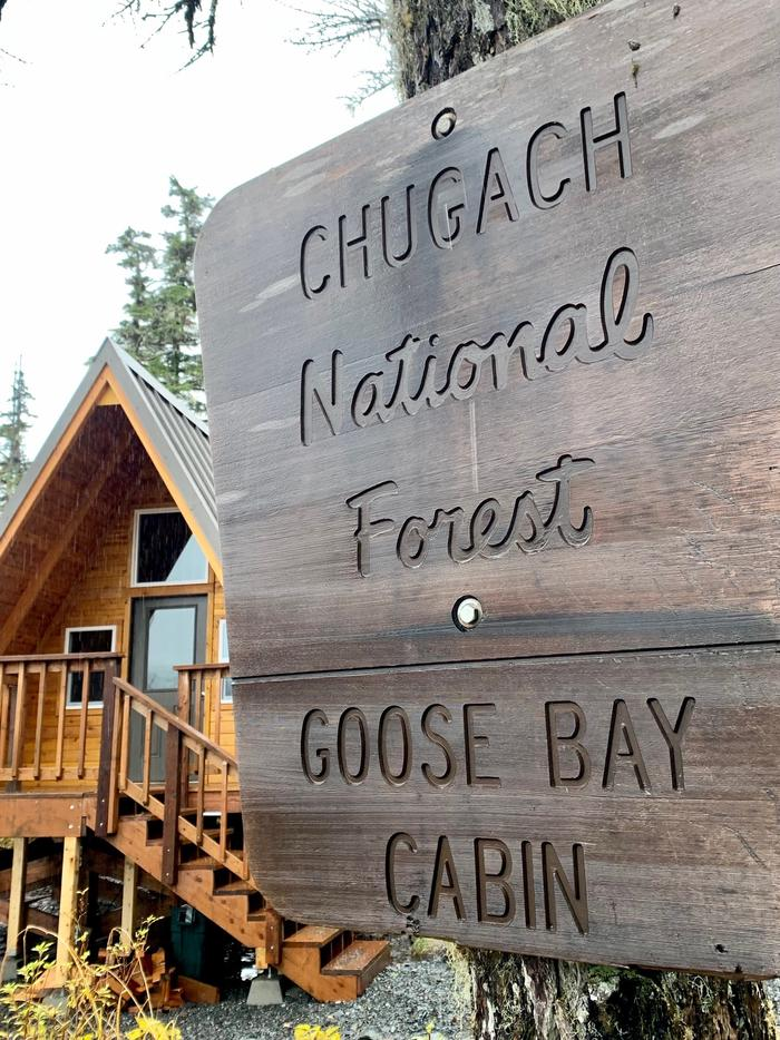 Goose Bay Cabin - Site approach signChugach NF - Goose Bay Cabin