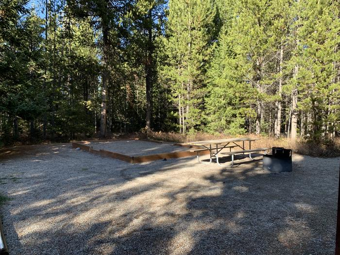 A photo of Site 43 of Loop 2 at Signal Mountain Lodge Campground with Picnic Table, Fire Pit, Shade, Food Storage, Tent PadADA Accessible.