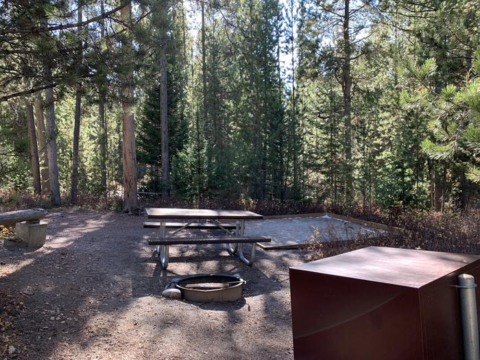A photo of Site 39 of Loop 2 at Signal Mountain Lodge Campground with Picnic Table, Fire Pit, Shade, Food Storage, Tent Pad