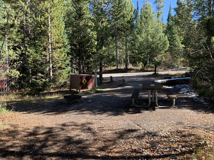 A photo of Site 5 of Loop 1 at Signal Mountain Lodge Campground with Picnic Table, Electricity Hookup, Fire Pit, Shade, Food Storage