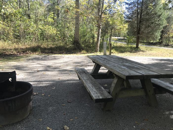 A photo of Site C005 of Loop C at TWIN KNOBS CAMPGROUND with Picnic Table, Electricity Hookup, Fire Pit, Shade, Tent Pad, Lantern Pole