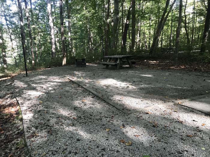 A photo of Site F016 of Loop F at TWIN KNOBS CAMPGROUND with Picnic Table, Fire Pit, Shade, Tent Pad, Lantern Pole