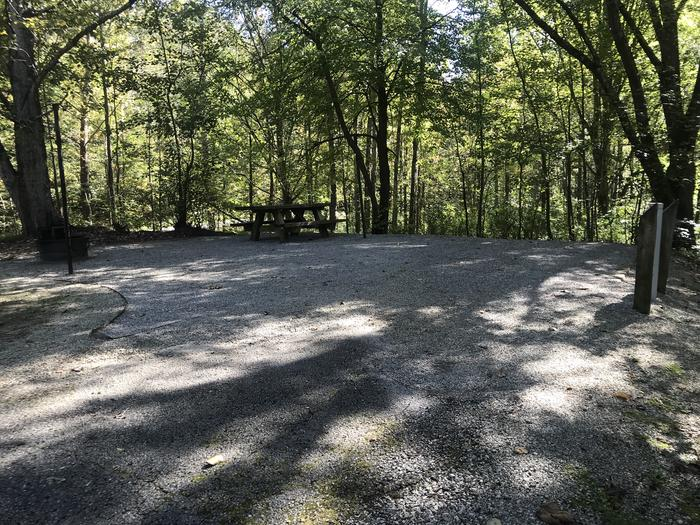 A photo of Site B005 of Loop B at TWIN KNOBS CAMPGROUND with Picnic Table, Electricity Hookup, Fire Pit, Shade, Tent Pad, Lantern Pole