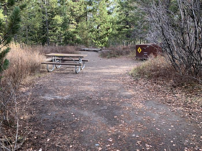 A photo of Site 68 of Loop 3 at Signal Mountain Lodge Campground with Picnic Table, Fire Pit, Shade, Food Storage