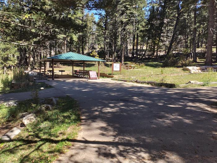 Aspen Group Campground pavilion and area.Aspen Group Campground pavilion for group site.