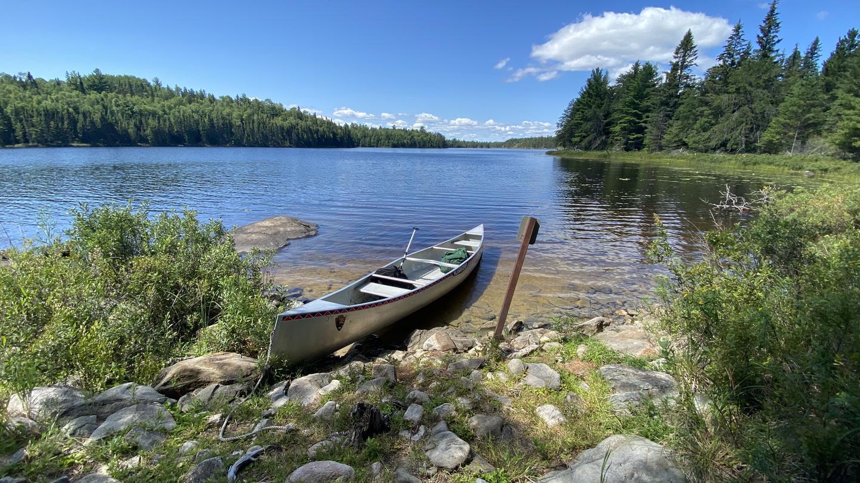 Canoe access at Locator Lake campsiteB9 - Locator Lake backcountry campsite