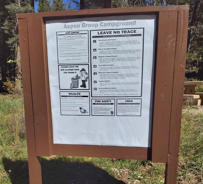 """ASPEN Group Campground """"Leave No Trace"""" Sign"""