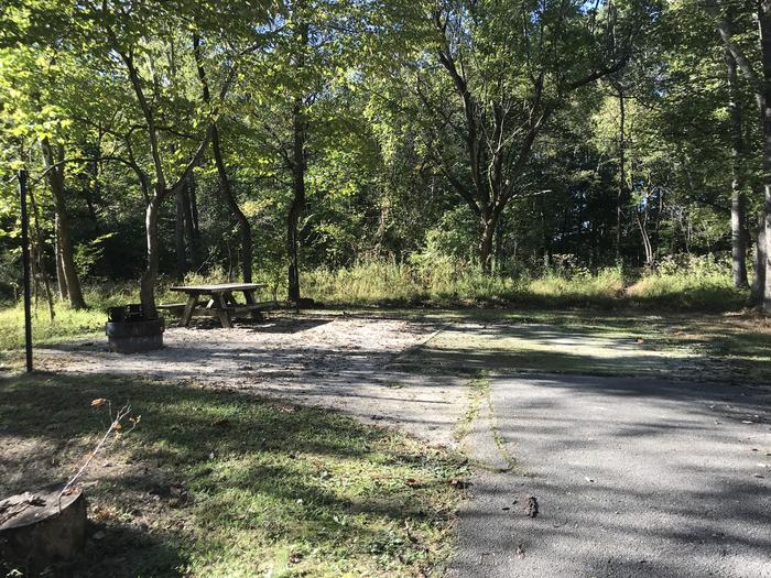 A photo of Site F011 of Loop F at TWIN KNOBS CAMPGROUND with Picnic Table, Fire Pit, Shade, Tent Pad, Lantern Pole