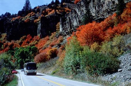 Tour Bus in Logan Canyon