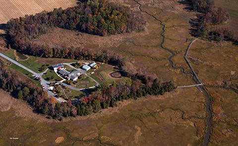 Aerial view of the Delaware National Estuarine Research Reserve, Delaware