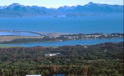 Aerial view of Kachemak Bay National Estuarine Research Reserve, Alaska