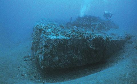 NOAA diver on the wreck site of the USS Monitor